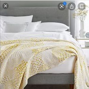 West Elm Coverlet - QUEEN - white + yellow NWT